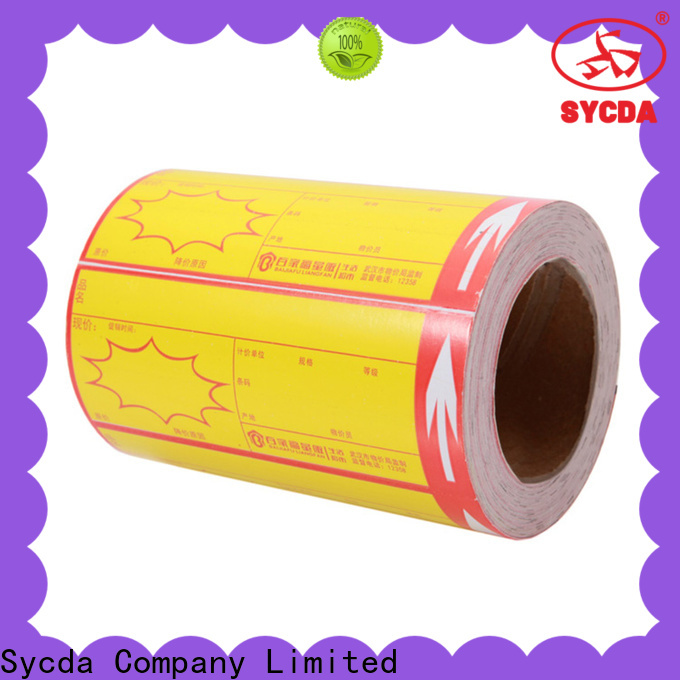 Sycda sticky label printing atdiscount for banking